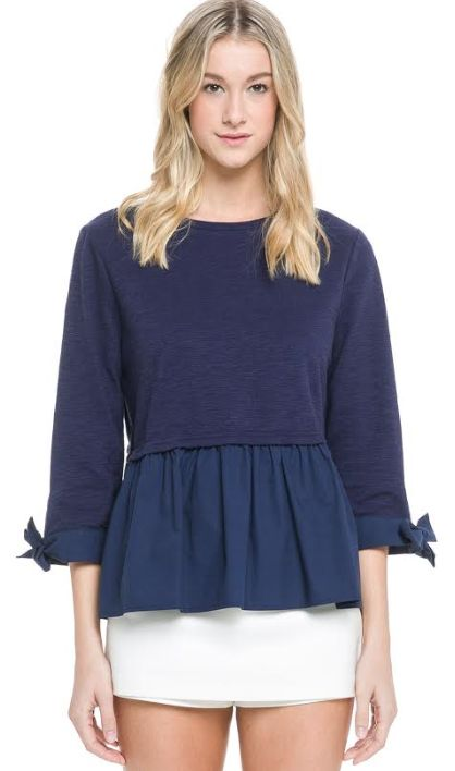 NIGHT SKY PEPLUM TIE SLV TOP
