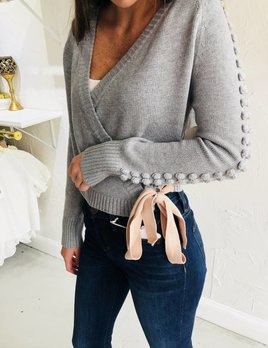 GREY POM WRAP SWEATER