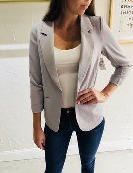 GREY BLAZER WITH  SHERRING SLEEVE