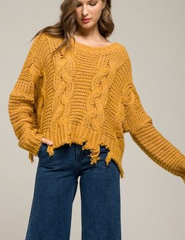 MUSTARD SHRED SWEATER