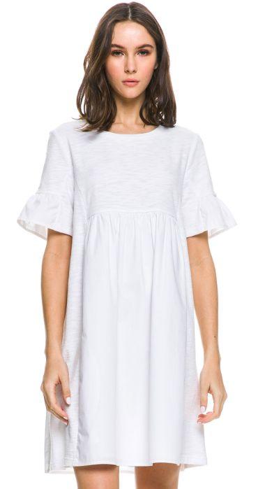 WOVEN RUFFLE DRESS