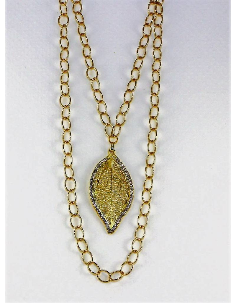 Necklace Gold Chain Leaf Medal SB Jewelry Designs