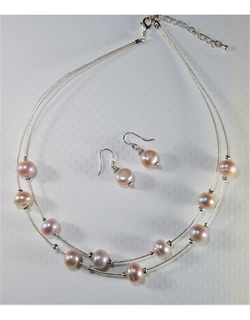 Sb Jewelry Designs Pink Freshwater Pearl Wire Necklace Earrings