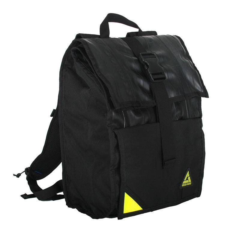 Green Guru Backpack Commuter Roll Top Black