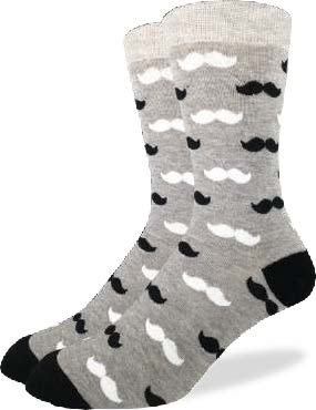 GOOD LUCK GOOD LUCK SOCK MOUSTACHE BLACK/GREY 7-12 1214