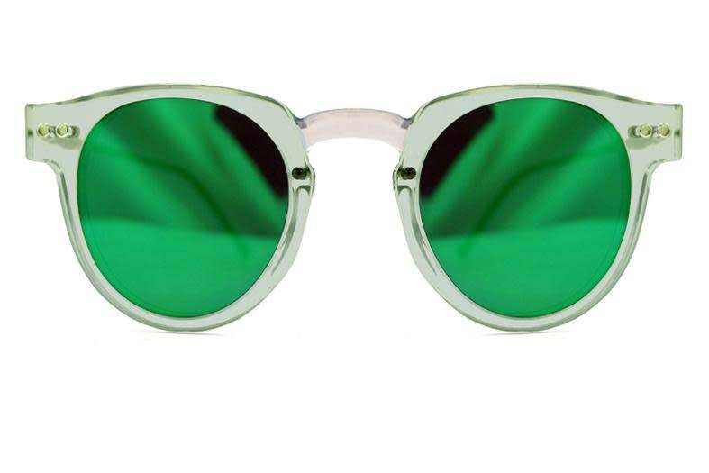 SPITFIRE SHARPER EDGE CLEAR/GREEN MIRROR SUNGLASSES