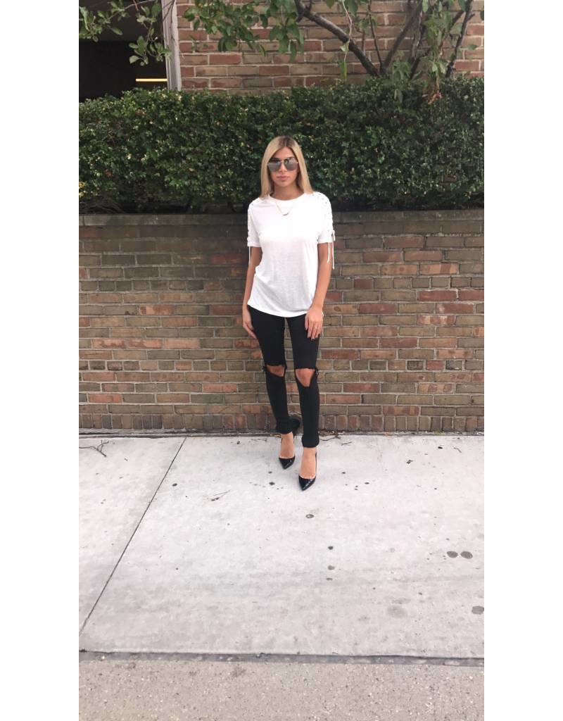 LEXI DREW 500 Lace Up Tee