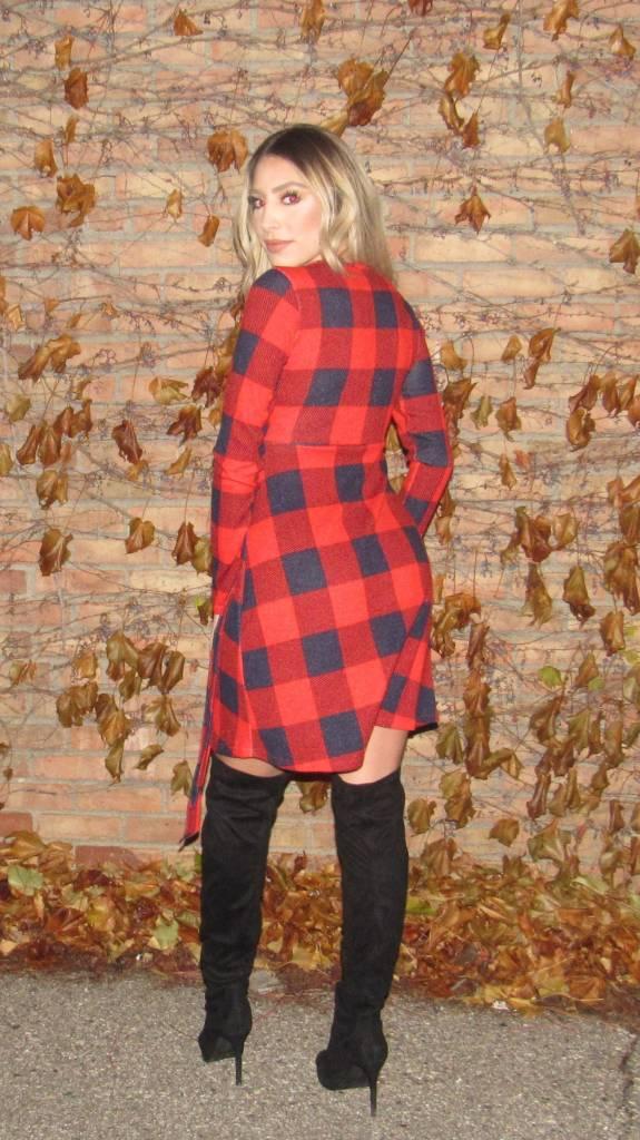 LEXI DREW Knit Plaid Dress