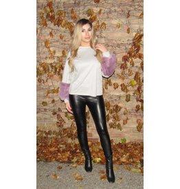 LEXI DREW Fur Sleeve Sweater