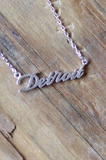 Detroit Script Necklace