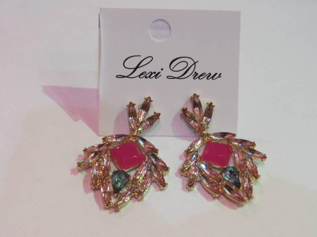 LEXI DREW Pink Gem Earrings