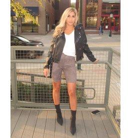 LEXI DREW Suede Biker Shorts