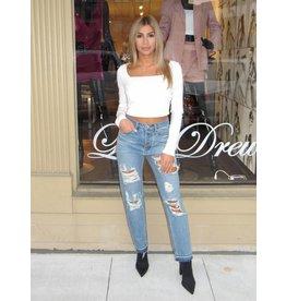 LEXI DREW Hem Rip Jeans