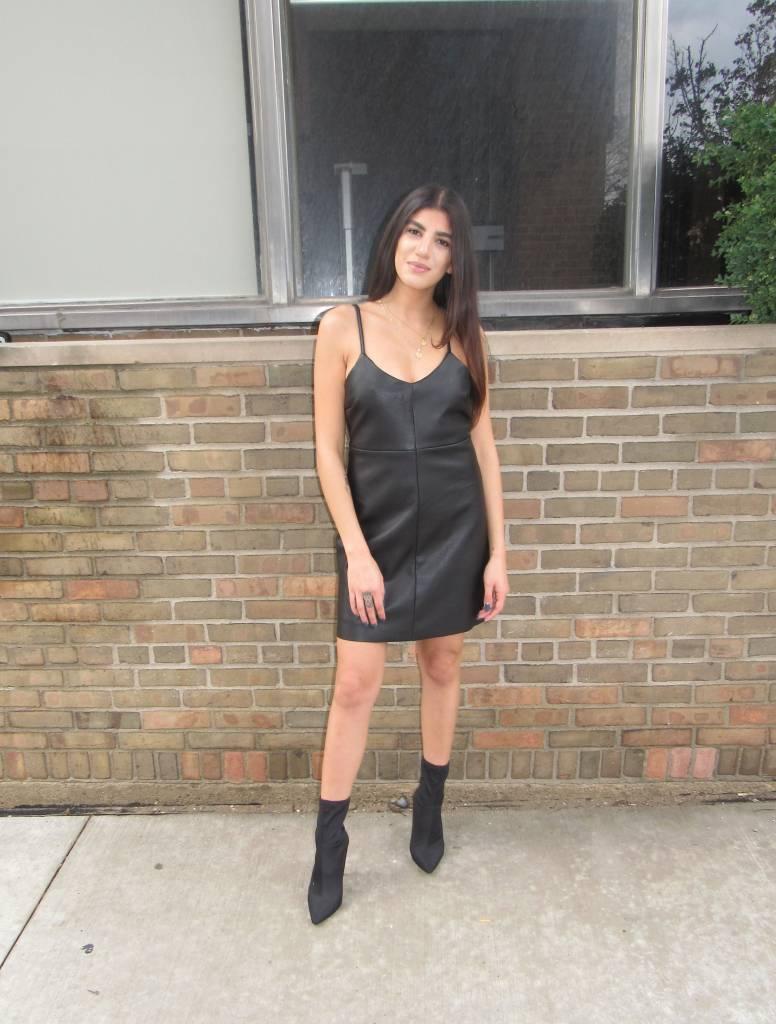 LEXI DREW Leather Slip Dress