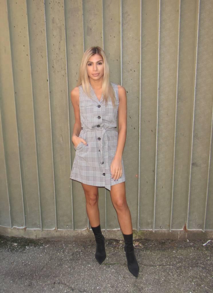 LEXI DREW Plaid Halter Dress