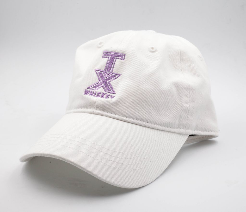 Hats BASEBALL HAT, WHITE WITH LAVENDER