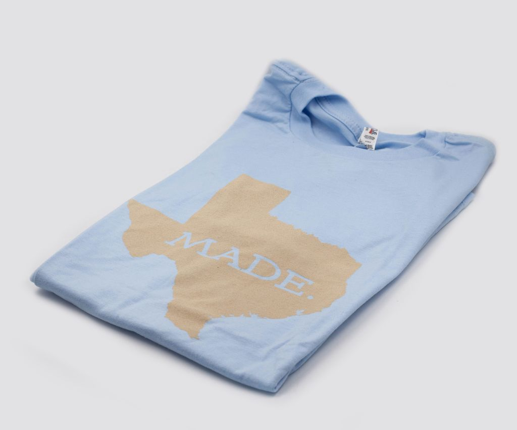 T Shirts TX MADE. M, POWDER BLUE