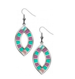 David Howell & Co. Wedding Ring Quilt Earrings - Pink/Green