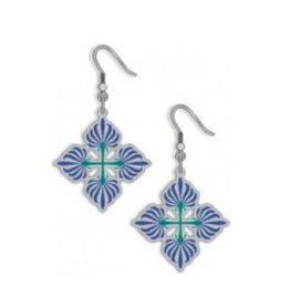 David Howell & Co. Cotton Boll Quilt Earrings, Blue