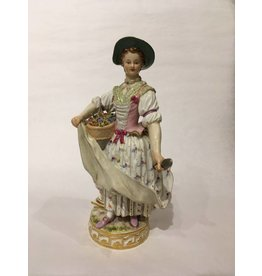 Meissen Porcelain Woman with Flowers, 19th Cent.