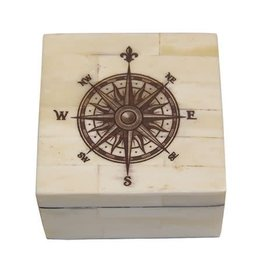 Madison Bay Company Bone Box - Compass Rose, Sepia