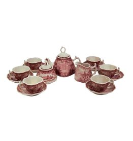 Madison Bay Company Child's Tea Set - Red and White