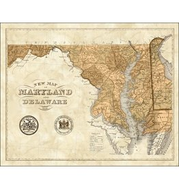 Sepia Maryland & Delaware Print, Matted