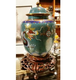 Cloisonne Urn with Lid & Wooden Base