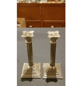 Silver-Plated Column Candlesticks, one pair