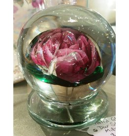 Large Millville Glass Doorstop with Rose