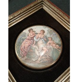 Hand-Enameled Porcelain Plaque, Framed