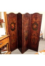 4 Panel Painted Leather Screen