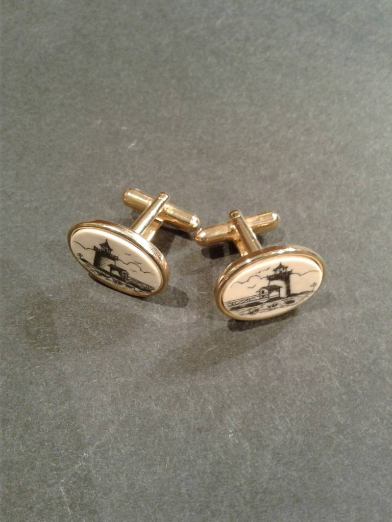 Men's Scrimshaw Lighthouse Cufflinks