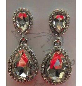 Silver Crystal Cluster Post Earrings
