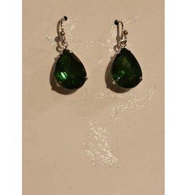 Samantha Georgian Paste Earrings - Green/Silver