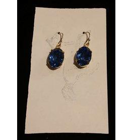 Samantha Georgian Paste Earrings - Blue/Gold
