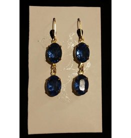 Collet Earrings - Sapphire Double Drop