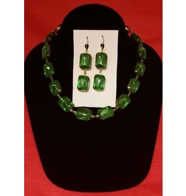 Collet Earrings - Peridot Green Double Drop