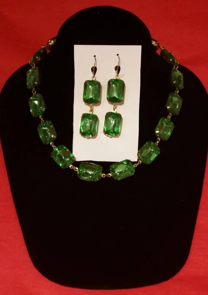 Collet Earrings - Peridot Green Double Drop