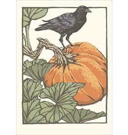 Arts & Crafts Press Card - Pumpkin & Crow