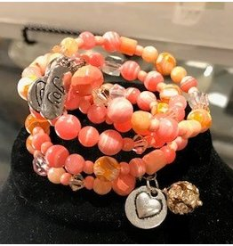 Wire-wrapped Bracelet with Silver - Coral