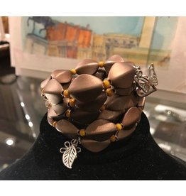 Wire-wrapped Bracelet with Silver - Matte Brown
