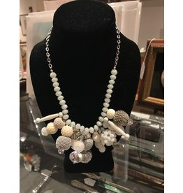 Cluster Necklace with Crystals - White