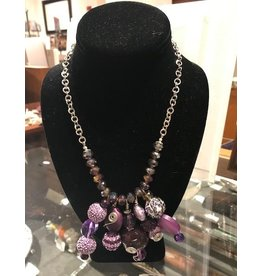 Cluster Necklace with Crystals - Purple