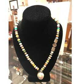 Multi-Colored Necklace with Agate Pendant
