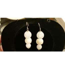 Pair of Cluster Earrings - White