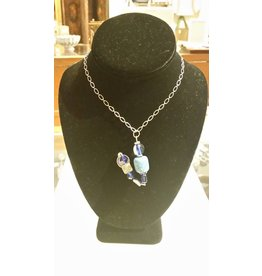 Silver Chain Necklace with Blue Wire-wrapped Pendant