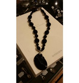 Onyx Necklace with Black Agate Pendant