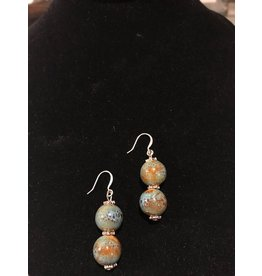 Pair of Teal & Brown Earrings