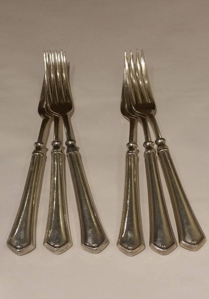 Set of 6 Dinner Forks, Maker Unknown
